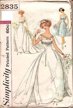 Vintage 50s 1950s Wedding Dress Pattern Simplicity 2835
