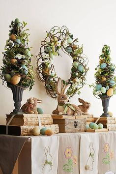 Easter Decor - Pier Floral Speckled Eggs Topiary is the best of spring wrapped into one colorful display. Hand-sculpted eggs are woven within a delicate mixture of faux flowers, berries and natural grapevine, all in a classic base. Easter Projects, Easter Crafts, Easter Decor, Easter Ideas, Easter Centerpiece, Hoppy Easter, Easter Eggs, Easter Bunny, Easter Parade