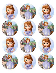 cupcake toppers Princess SOFIA the FIRST Inspired Round DISNEY Sticker, Birthday, Favor Tag, Cutout, Printable, Cupcake Topper. $2.00, via Etsy.