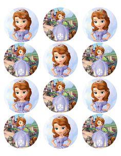 cupcake toppers Princess SOFIA the FIRST Inspired Round DISNEY Sticker, Birthday, Favor Tag, Cutout, Printable, Cupcake Topper. $2.00, via Etsy.