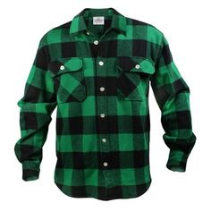 Rothco- -Mens Flannel Shirt - Extra Heavyweight Cotton, Green by Rothco