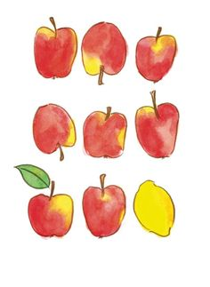 art prints - Apples and a Lemon by Emy Art Studio  Winning design! Available for purchase soon at minted.com