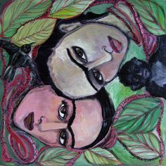 The Two Fridas with Red Ribbon by Laurie Maves