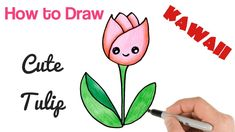 How to Draw cartoon flower tulip cute and easy Kawaii Drawings, Cartoon Drawings, Cute Drawings, Cartoon Flowers, Simple Cartoon, Easy Youtube, Food Drawing, Colored Pencils, Tulips