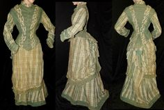 ANTIQUE VICTORIAN 3PC PLAID WOOL CHALLIS VISITING OVERSKIRT BUSTLE GOWN DRESS | eBay