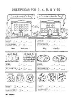 Actividades para niños preescolar, primaria e inicial. Fichas con multiplicaciones divertidas para imprimir para niños de primaria. Multiplicaciones divertidas. 1
