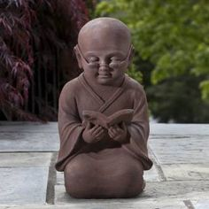 Check out the Alfresco Home 61-7208 Reading Buddha Statue in Rust