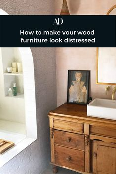 There's just something about reclaimed or aged wood that brings a rustic or casual feel to any space. But if your furniture still has that straight-out-the-store glow and you're wondering how to distress wood, fortunately, there are several ways to achieve a beautifully worn look, none of which include having to wait for years to get it.   #mirror #gold #vanity #pastel #walls #pink #bathroom #artdeco