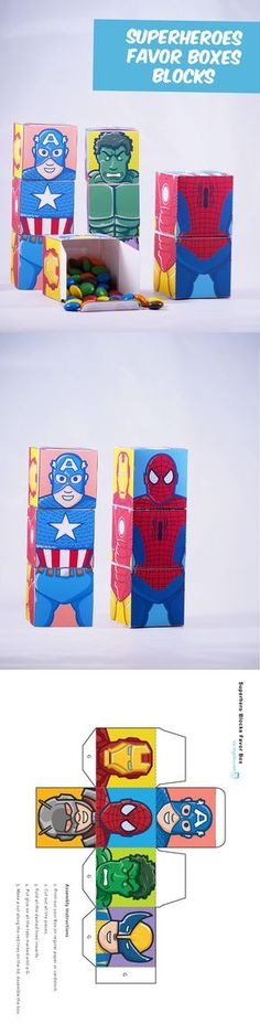 Create your own superhero favor boxes. Combine 6 superheroes. Great papercraft.