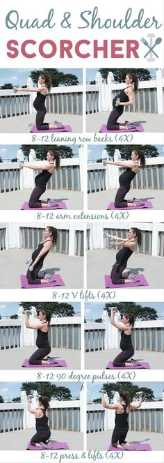This low-impact workout will target your thighs (quads) and shoulders like NO OTHER! Plus you can do it anywhere. Great for a prenatal workout too.