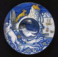 """Nicola Francioli, who often signed his work """"Co' """", was a star of the Deruta pottery scene. He was influenced by Raphael and Perugino and copied their work in his ceramics. 1520. lostpastremembered: February 2014"""
