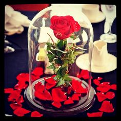 Beauty and The Beast rose centerpiece. Love this! Would be awesome to have an elegant disney theme at every table