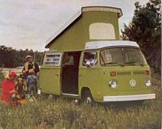 Lime green vw bus. Home is where you park it