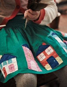 hex-girlfriend: therosagreen: olgainoue: bodenusa house patch oh oh man i want a house patch skirt/dress so hard wah Sewing Clothes, Diy Clothes, Applique Skirt, Kids Outfits, Cute Outfits, Kid Styles, Sewing For Kids, Little People, Kids Wear