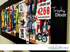 Running medal/bib display board made from an old door by A Pretty Happy Home Tub Shower Combo, Shower Tub, Run Disney, Disney Running, Race Medal Displays, Trophy Display, Running Medals, Shower Surround, Diy Door
