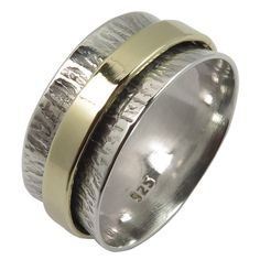 925 Solid Sterling Silver TWOTONE Golden Hammered Spinner 9mm Band Ring All Size #Unbranded #Spinner