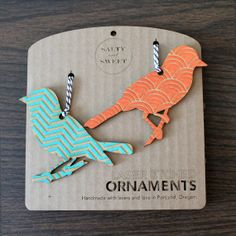 Laser Etched Bird Ornaments Chevron by SaltyandSweet on Etsy, $21.00