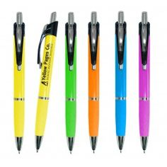 The Charter Deluxe Advertising Pen - Bright Colored Rectractable promotional pens with a Modern Styled Clip