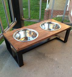 Modern pet bowl holders, wood dog bowl holder, contemporary pet, cat bowl holder, wooden rustic home decor, pet dish holder, pet feeder