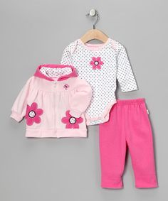 #zulily #fall Take a look at this Pink Flower Zip-Up Hoodie Set by Duck Duck Goose on #zulily today!