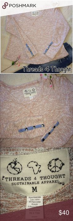 Threads 4 Thought Oversized Crewneck Sweater -NWOT New - no flaws, has button sleeves for easier rolling and so it looks awesome!! Lol,made from a portion of recycled clothing. Washed out Burnt Orange & White color Threads 4 Thought Sweaters Crew & Scoop Necks