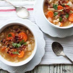 Homemade Bean and Bacon Soup.