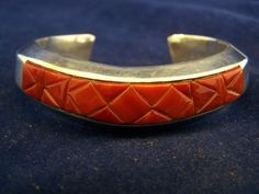 TOMMY JACKSON signed NAVAJO BRACELET Mediteranian Coral and Sterling Silver WOW!