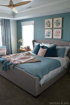 master bedroom paint colors How to Create an Upscale, Luxurious Master Bedroom using paint. Three painting tips to turn your bedroom into a beautiful, restful retreat! Bedroom Wall Colors, Bedroom Color Schemes, Home Decor Bedroom, Bedroom Ideas, Painting A Bedroom, Home Painting, Teal Bedroom Walls, Relaxing Bedroom Colors, Blue Room Decor