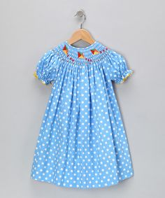 Take a look at this Blue Polka Dot Bishop Dress - Infant, Toddler & Girls by Marjorie's Daughter on #zulily today!