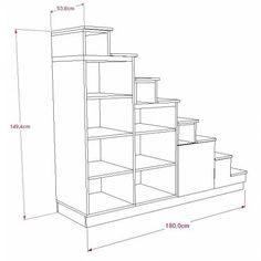 Stairs with integrated bookshelf Tiny House Stairs, Loft Stairs, Tiny House Cabin, Stair Dimensions, Tiny House Storage, Kitchen Pantry Design, Barn Renovation, Apartment Projects, House Siding