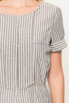 Dylan Denim Pinstripe Short Sleeve Jumpsuit by Everly