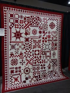 """""""Red and White - By The Numbers"""" by Barbara Black and Pamela Joy Spencer Dransfeldt. Info on pattern: http://justtakes2.com/basic-information/ order info: http://sentimentalstitches.myshopify.com/collections/digital-downloads/products/just-takes-2"""