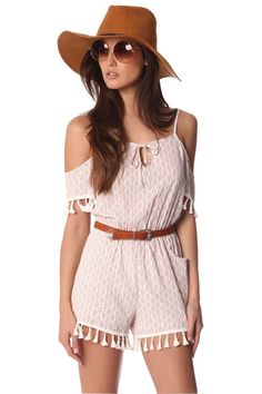 White printed romper with cold shoulder