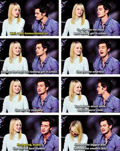 Emma Stone Andrew Garfield. I didn't know she was homeschooled!