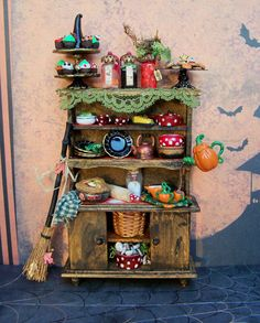 Dollhouse Miniature Witch Kitchen Cabinet by 19thDayMiniatures, $75.00