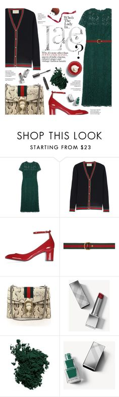"""Who's the lady in Lace?"" by federica-m ❤ liked on Polyvore featuring Valentino, Gucci, Topshop, Burberry, Chantecaille, lace, valentino, topshop and gucci"