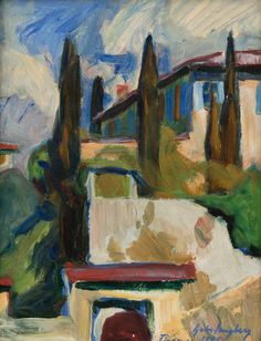 Gabriel Engberg (Finnish, 1872-1953), FROM FLORENCE, 1925. Oil on canvas, 40x30 cm