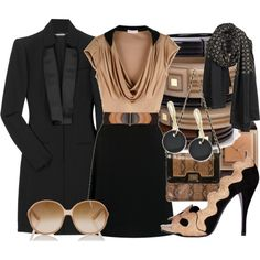 A fashion look from May 2009 featuring zipper dress, long jacket and snake bag. Browse and shop related looks. Office Outfits, Office Wear, Office Chic, High Fashion, Luxury Fashion, Womens Fashion, Dinner Wear, Work Attire, Outfit Work