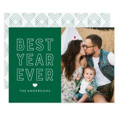 #Modern Best Year Ever   Holiday Photo Card - #Xmas #ChristmasEve Christmas Eve #Christmas #merry #xmas #family #kids #gifts #holidays #Santa
