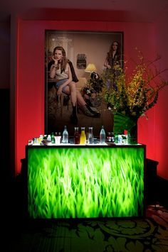 ILLUMINATED GRASS BAR  Stainless steel framed illuminated bar with grass graphic facade   Full Service Shelves for Storage     Product #	: BAR-012-GRASS  Dimensions: 72''L x 24''D x 45''H  Pieces Avail: 5