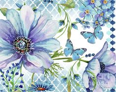 by Jean Plout Blue flowers and butterflies.