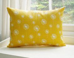 Yellow Pillow Cover Lumbar Pillow 12x16 Decorative Pillow Dandelion Pillow