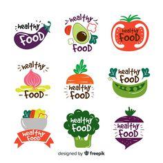Flat healthy food logos Free Vector Snacks empaques y nombres Food Logo Design, Logo Food, Food Drawing, Healthy Recipes, Healthy Food, Dinner Healthy, Vegetarian Recipes, Free Logo, Food Packaging