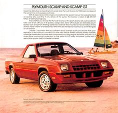 carsthatnevermadeit:  Dodge Rampage/Plymouth Scamp GT, 1982-1984. A front-drive sports truck based on the Dodge Omni/Plymouth Horizon with a nose borrowed from the the sporty 024/Charger coupe. The pick-ups failed to achieve the hoped-for sales and were withdrawn from the market after two years