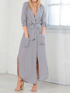 2b4e556925b Gray Chiffon Plunge Tie Waist Split Long Sleeve Chic Women Maxi Dress