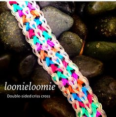 #DOUBLE-SIDEDCRISSCROSS #DOUBLE-SIDED #CRISSCROSS  #loombands #loomband #neon #colors #colours #rainbow #bracelets #fishtail #braid #plat #jewellery #diy #design #rainbowloom