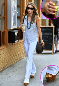 anna lynne mccord memorial day outfit 2011 white jeans and denim top with neon yellow nails NYC