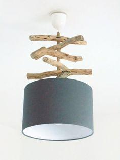 Lustre suspension plafonnier bois flotté gris 30 cm