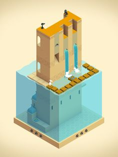 Monument Valley - the game Isometric Art, Isometric Design, Blender 3d, Game Concept, Concept Art, Monument Valley Game, Cube World, Pix Art, Game Ui Design