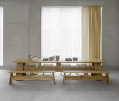Designed by David Chipperfield.Originally conceived for an architectural project in the English countryside, table FAYLAND features the pure use of material and a clear design language, which are shared aesthetics of e15 and David Chipperfield. Made of solid wood, the constructive details are at the core of its refined and elegant design: a horizontal bar with centered support provides stability while the table ends overlap the frame, providing additional seating space. In addition to…